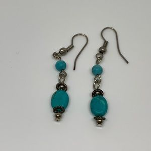 Vintage Oval Turquoise Bead Dainty Dangle Earrings
